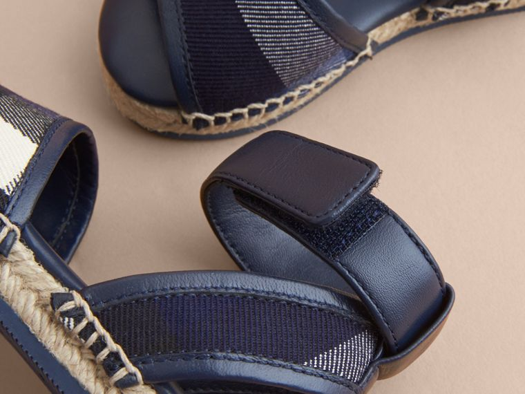 Leather Ankle Strap and House Check Espadrille Sandals in Bright Sapphire - Children | Burberry - cell image 1