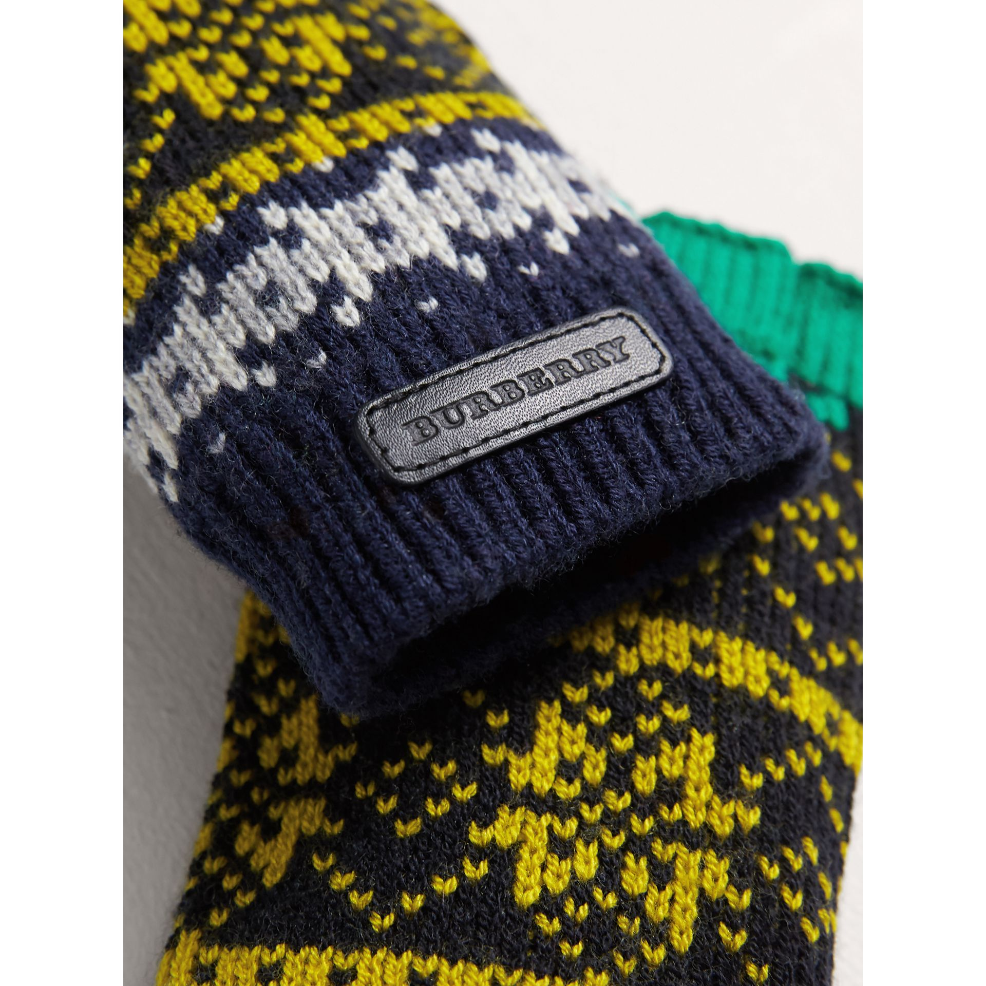 Fair Isle Wool Cashmere Fingerless Gloves in Bright Yellow | Burberry United Kingdom - gallery image 2