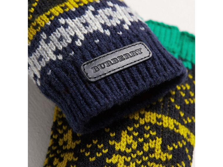 Fair Isle Wool Cashmere Fingerless Gloves in Bright Yellow | Burberry - cell image 1