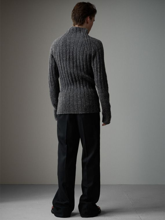 Rib Knit Wool Cashmere Turtleneck Sweater in Charcoal - Men | Burberry United States - cell image 2