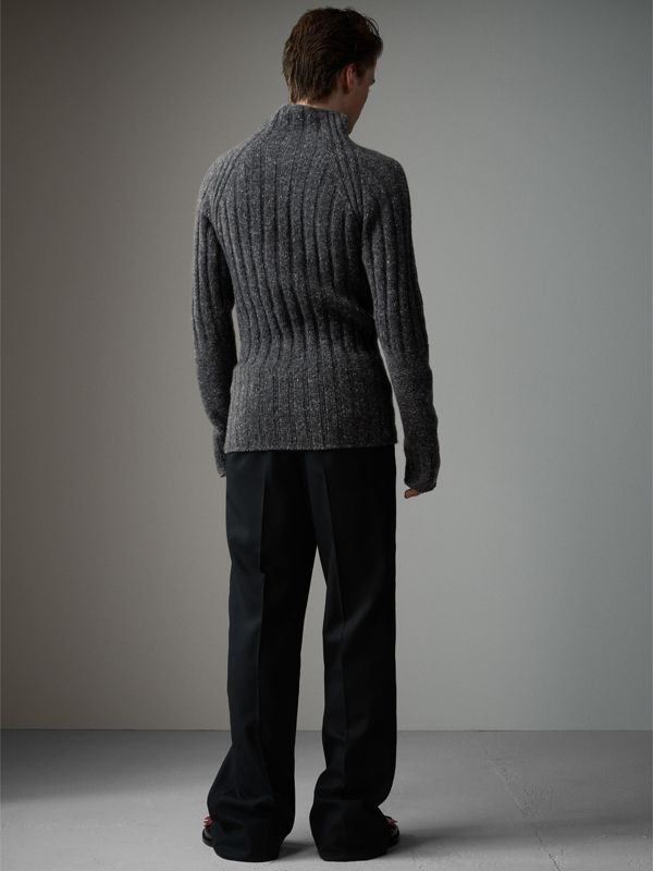 Rib Knit Wool Cashmere Turtleneck Sweater in Charcoal - Men | Burberry United Kingdom - cell image 2