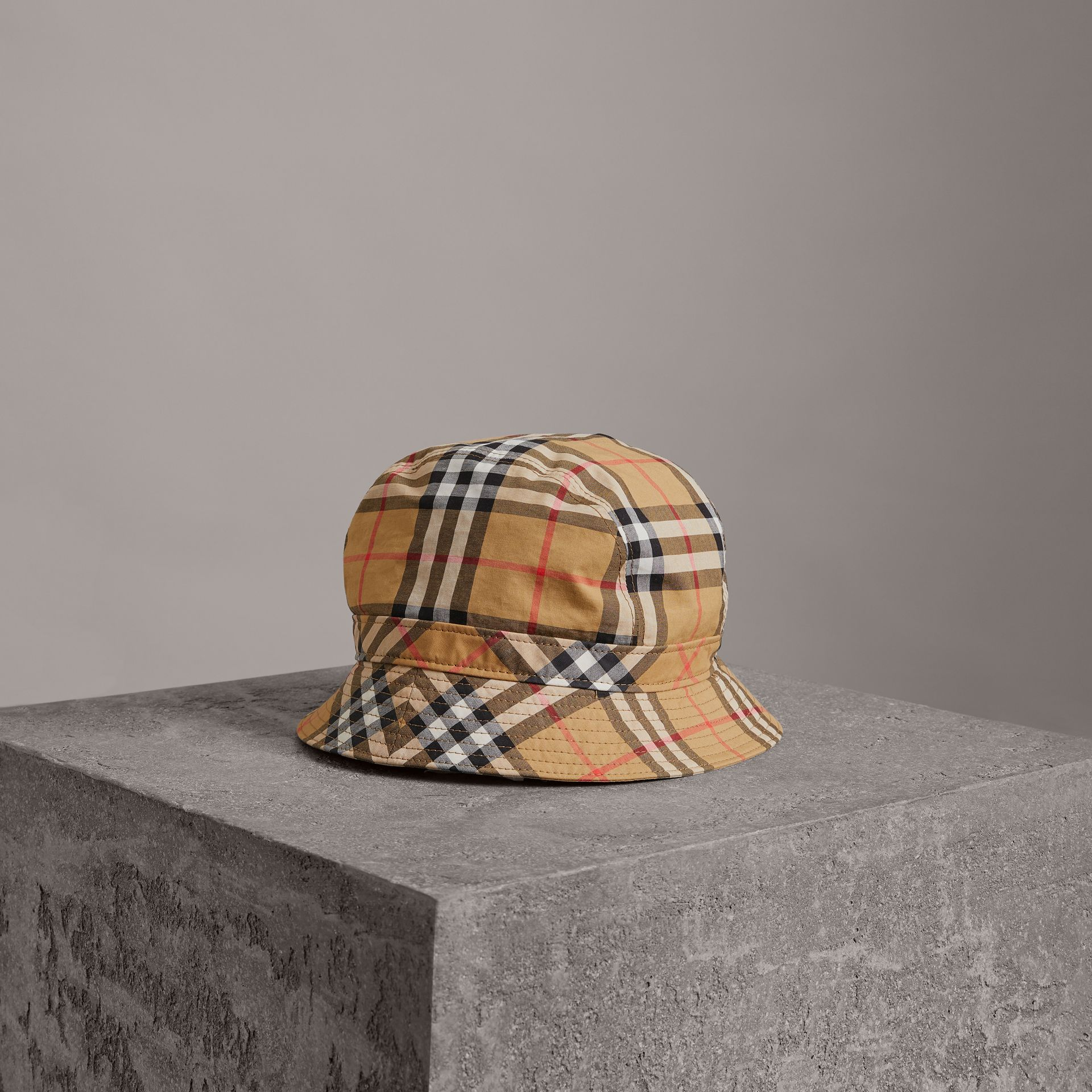 Vintage Check Bucket Hat in Antique Yellow | Burberry Canada - gallery image 0