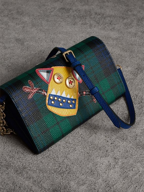 Creature Appliqué Tartan Leather Wallet with Chain in Bright Navy - Women | Burberry - cell image 2