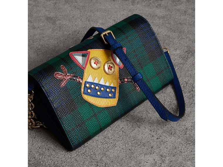 Creature Appliqué Tartan Leather Wallet with Chain in Bright Navy - Women | Burberry - cell image 4