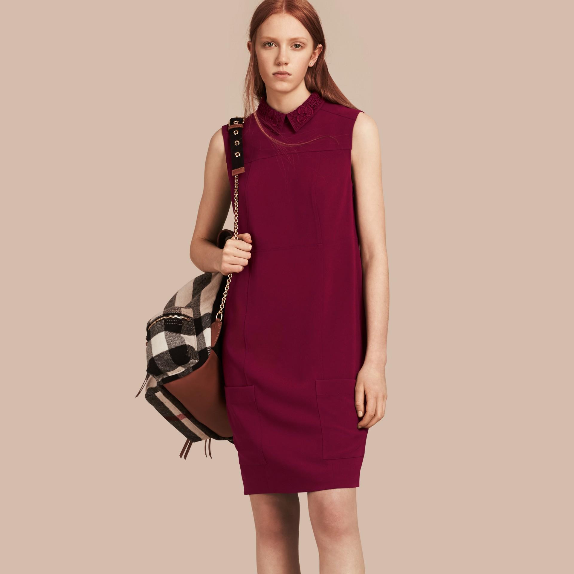 Dark crimson Sleeveless Lace Collar Dress - gallery image 1