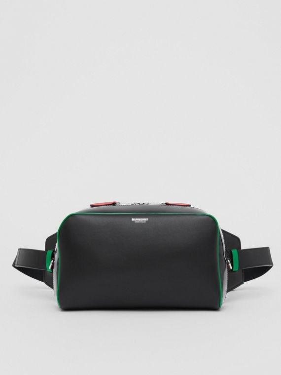 Leather and Vinyl Cube Bum Bag in Black