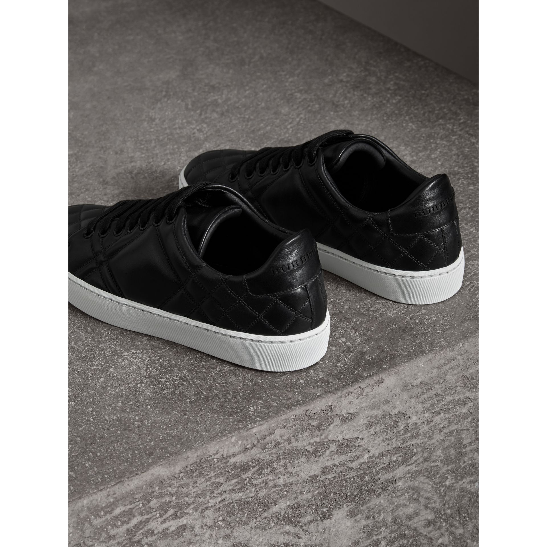 Check-quilted Leather Trainers in Black - Women | Burberry United Kingdom - gallery image 3