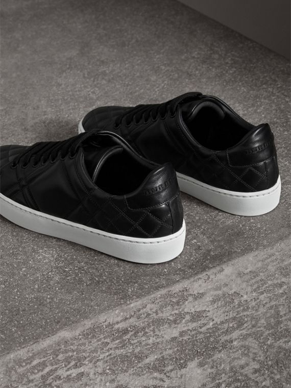 Check-quilted Leather Trainers in Black - Women | Burberry - cell image 2