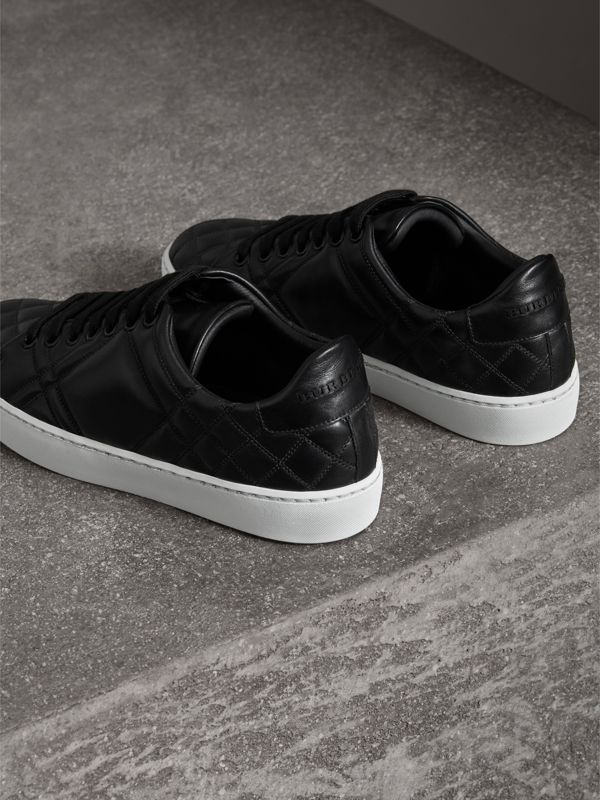 Check-quilted Leather Sneakers in Black - Women | Burberry - cell image 3
