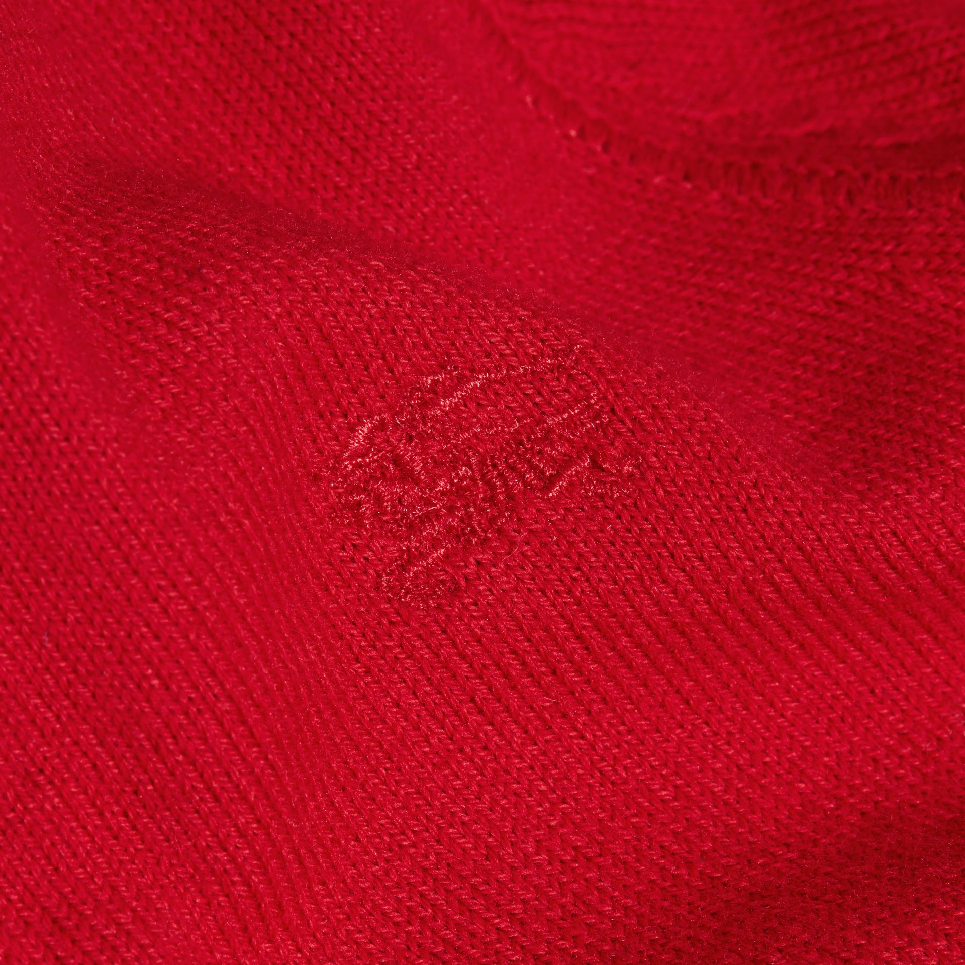 Check Detail Cotton Cardigan in Military Red | Burberry - gallery image 2