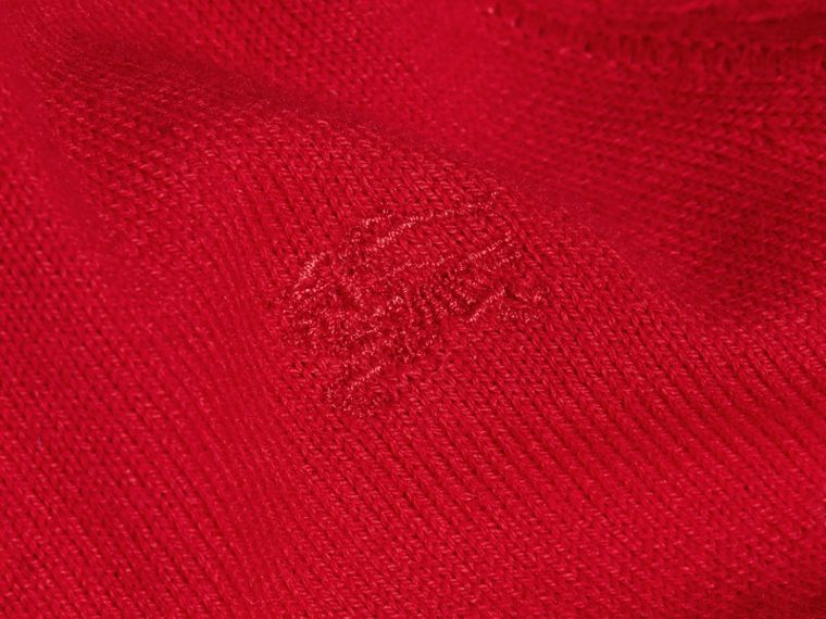 Check Detail Cotton Cardigan Military Red - cell image 1