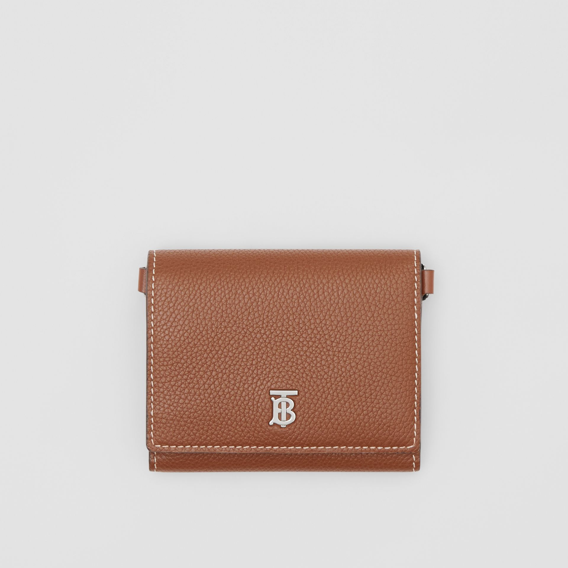 Small Grainy Leather Wallet with Detachable Strap in Tan | Burberry - gallery image 10
