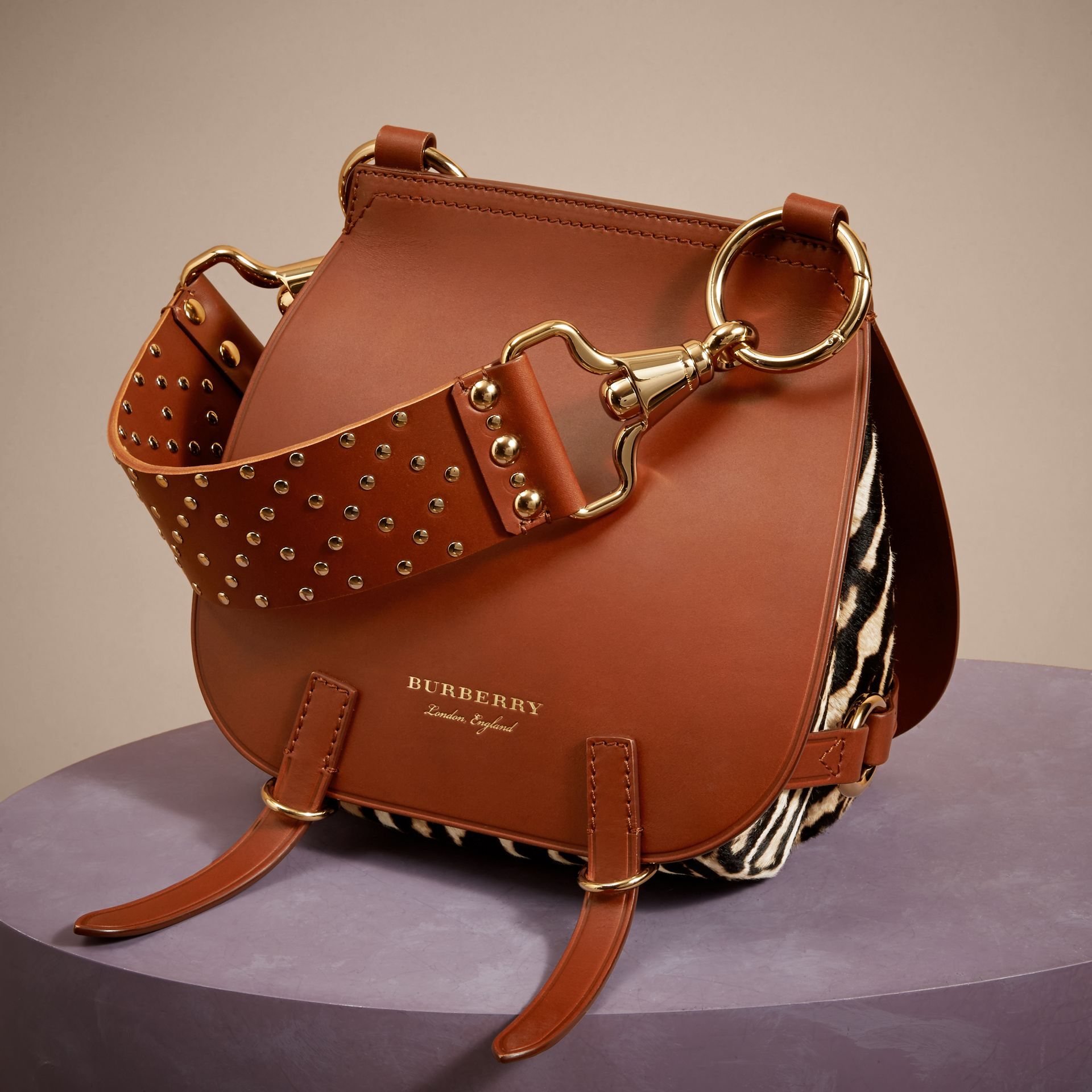 The Bridle Bag in Leopard-print Calfskin and Leather in Tan - Women | Burberry United States - gallery image 7