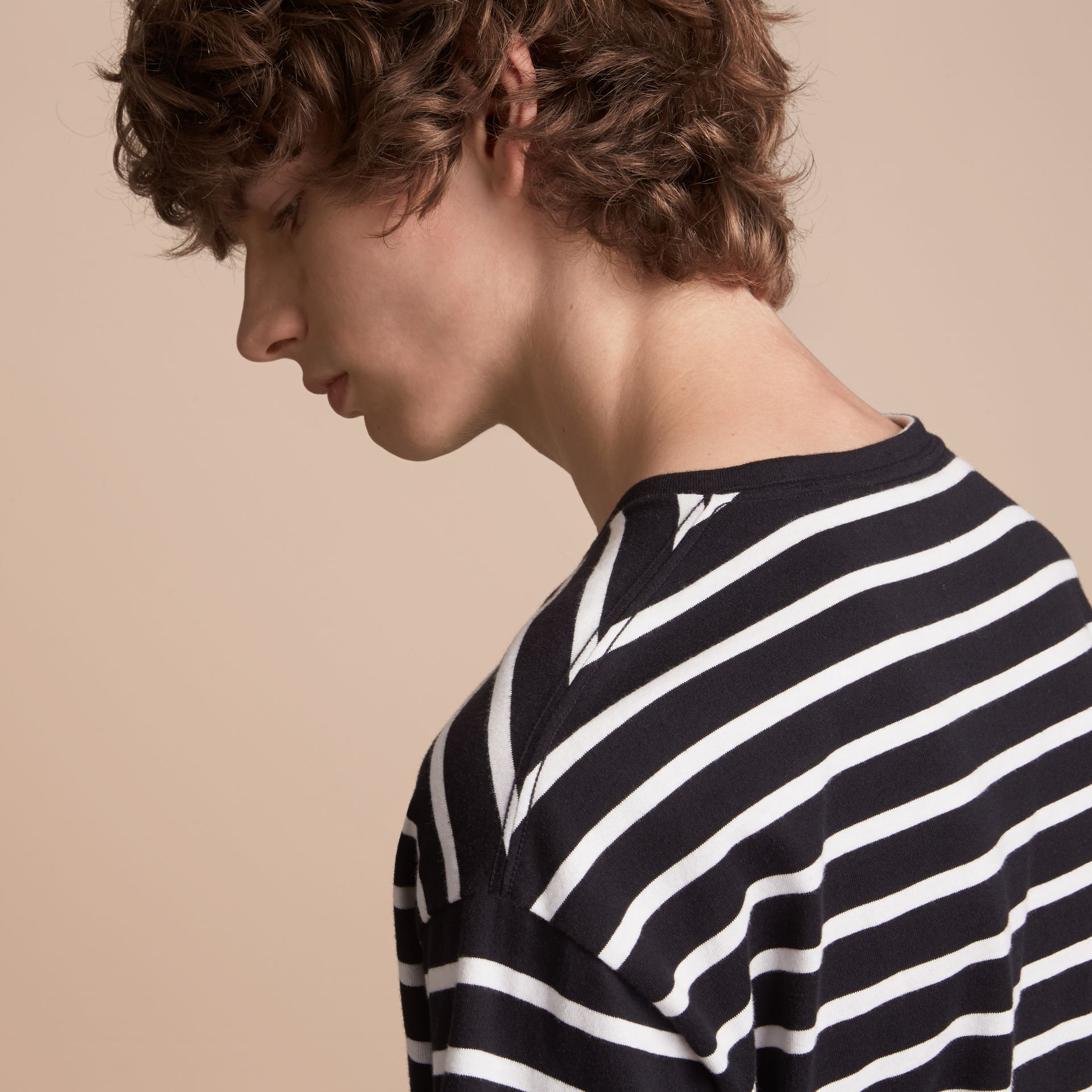 Striped Cotton Oversize T-shirt in Black/white - Men | Burberry - gallery image 5