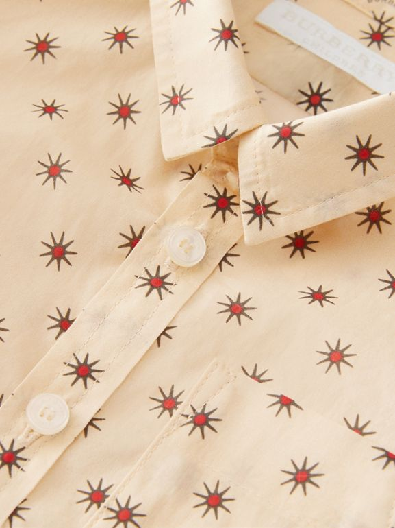 Star Print Cotton Shirt in Military Red - Children | Burberry - cell image 1