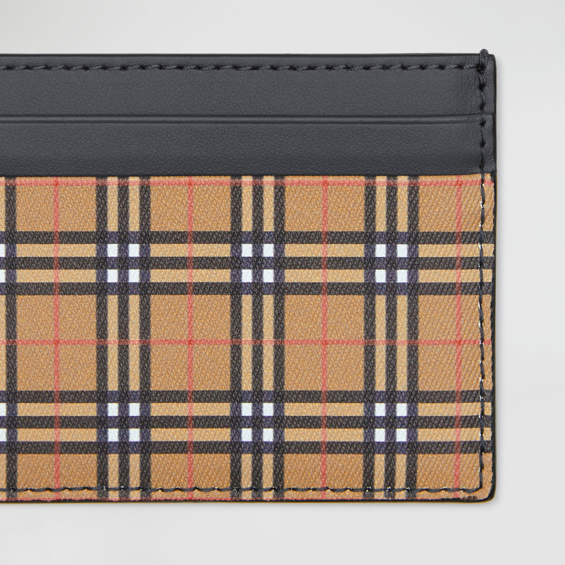 Vintage Check and Leather Card Case in Antique Yellow/dark Grey - Men | Burberry United Kingdom - gallery image 1