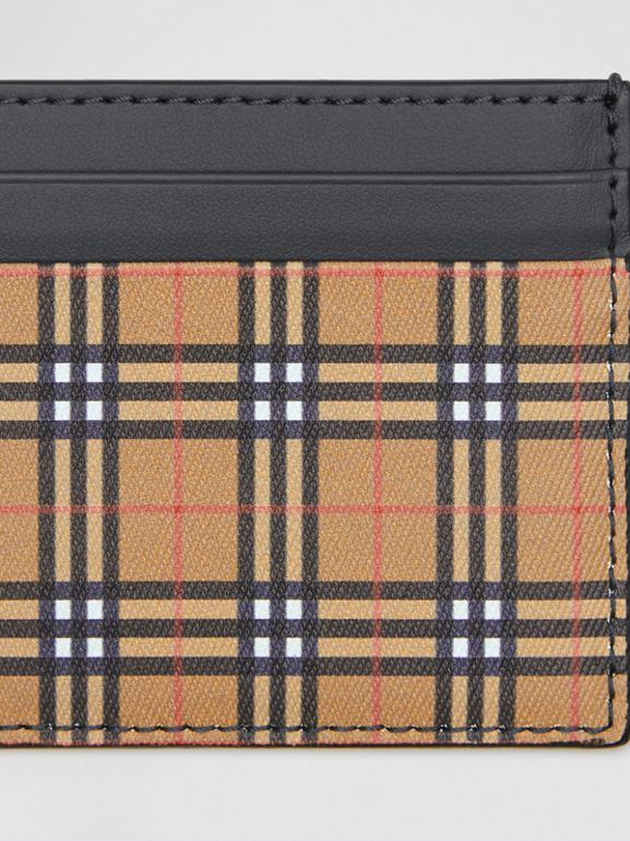 Vintage Check and Leather Card Case in Antique Yellow/dark Grey - Men | Burberry Australia - cell image 1