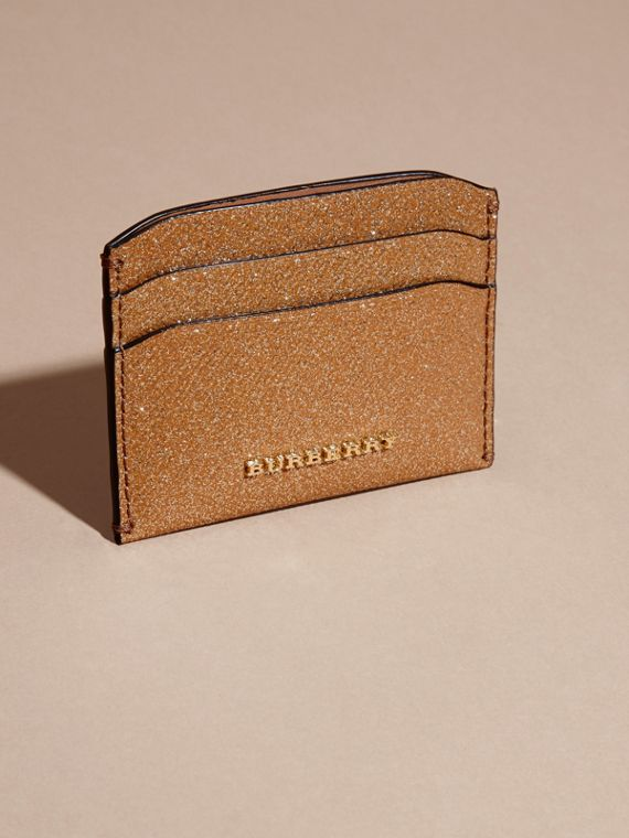 London Leather Glitter Card Case in Camel / Gold - cell image 2