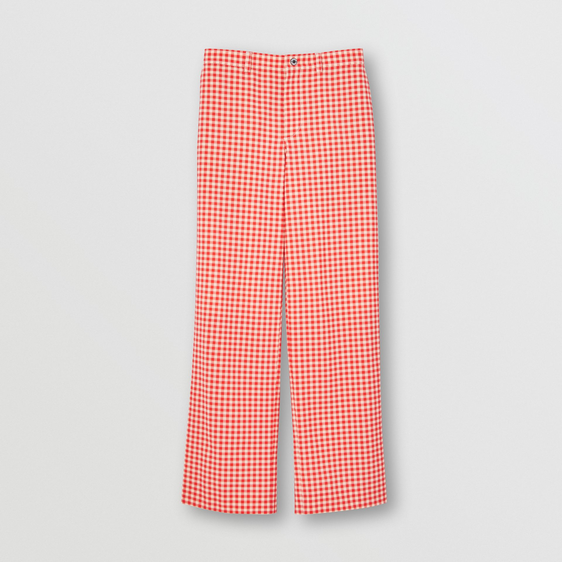 Cut-out Back Gingham Stretch Cotton Trousers in Red | Burberry - gallery image 3