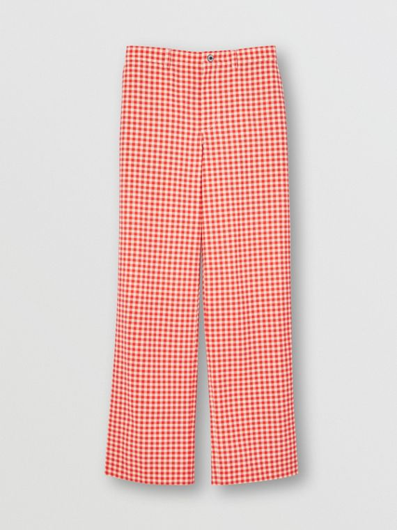 Cut-out Back Gingham Stretch Cotton Trousers in Red