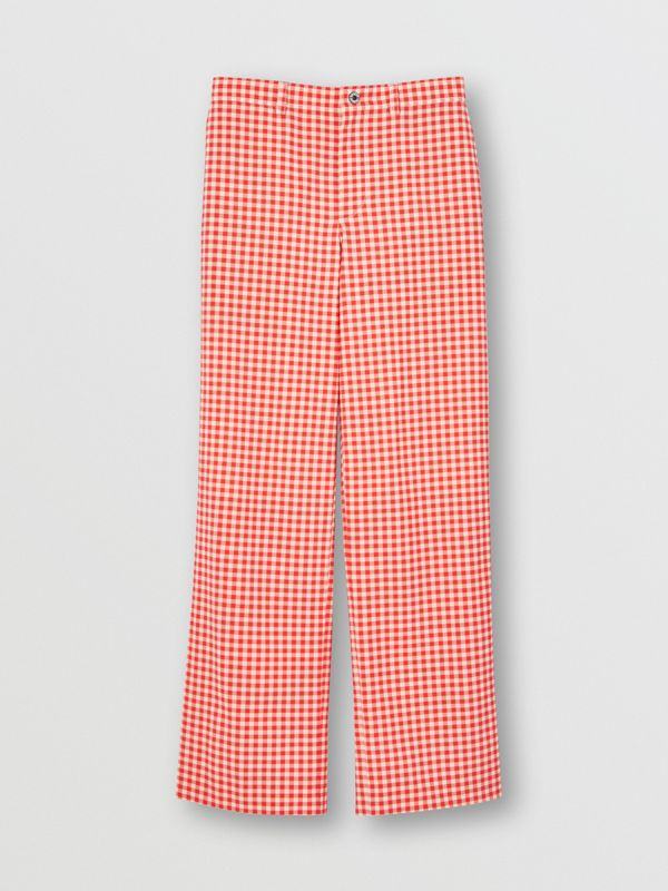Cut-out Back Gingham Stretch Cotton Trousers in Red | Burberry - cell image 3