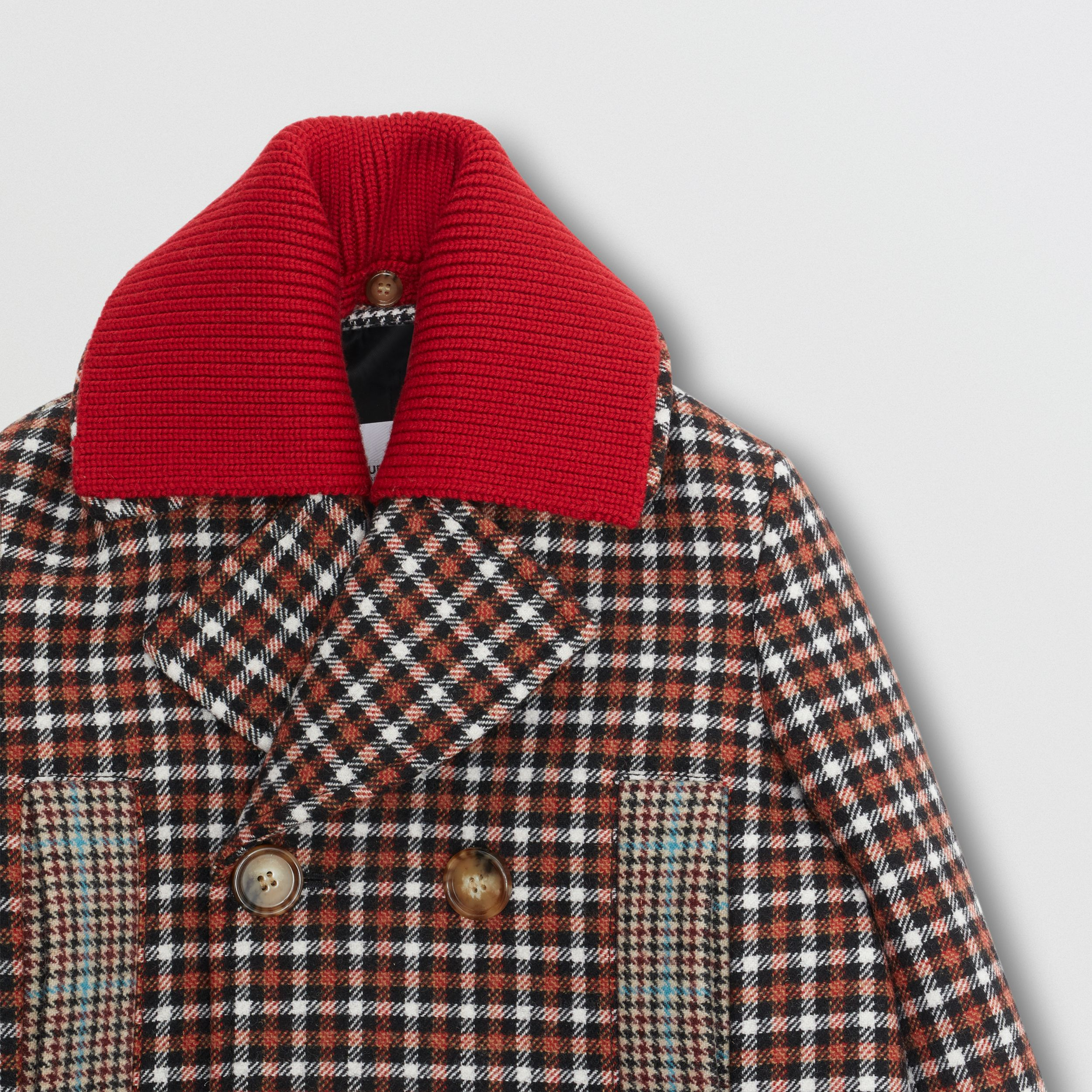 Detachable Collar Patchwork Check Wool Blend Coat in Vermilion Red | Burberry - 2