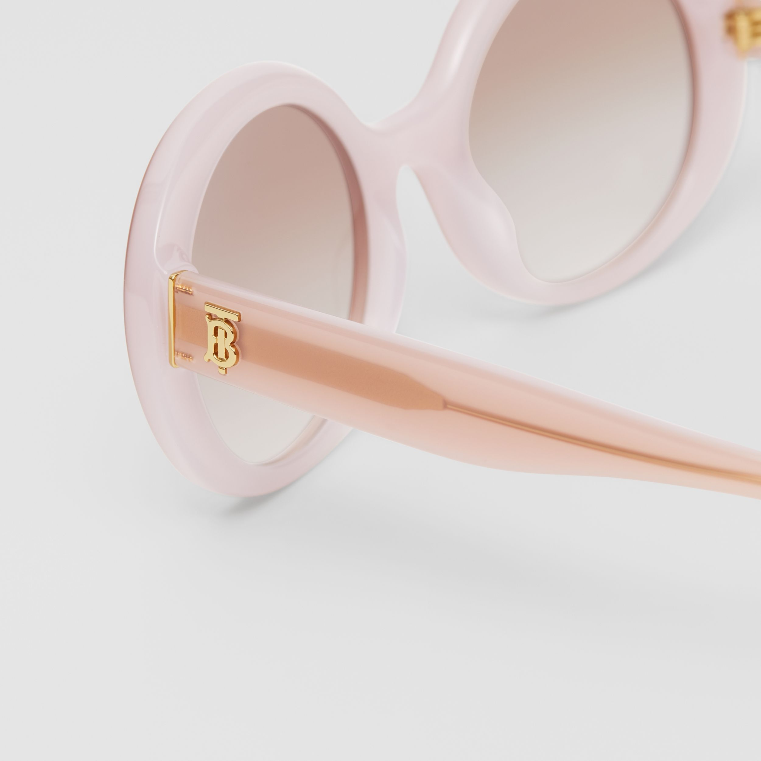 Oversized Round Frame Sunglasses in Opal Pink - Women | Burberry - 2