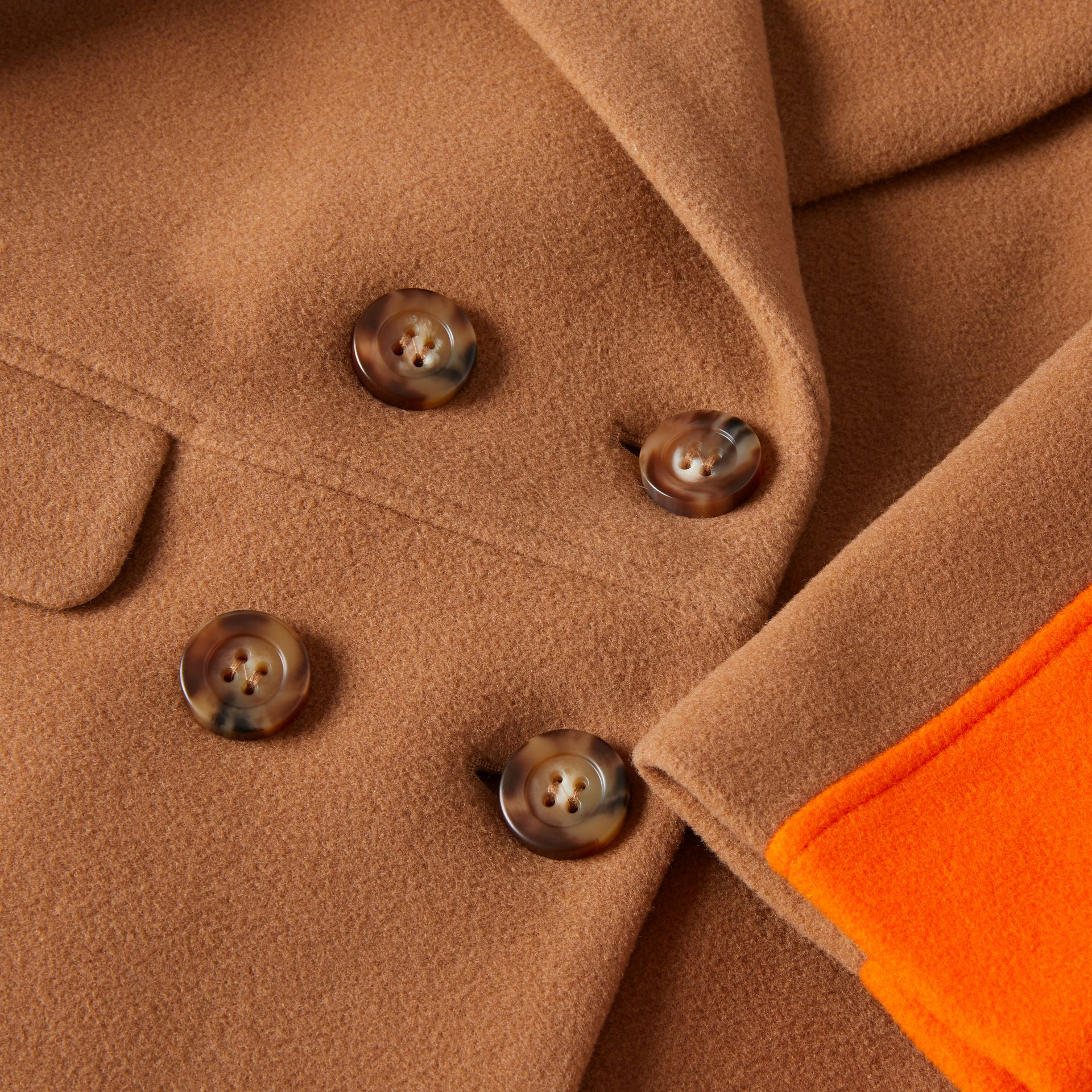 Colour Block Technical Wool Coat in Dark Walnut Melange | Burberry - gallery image 1