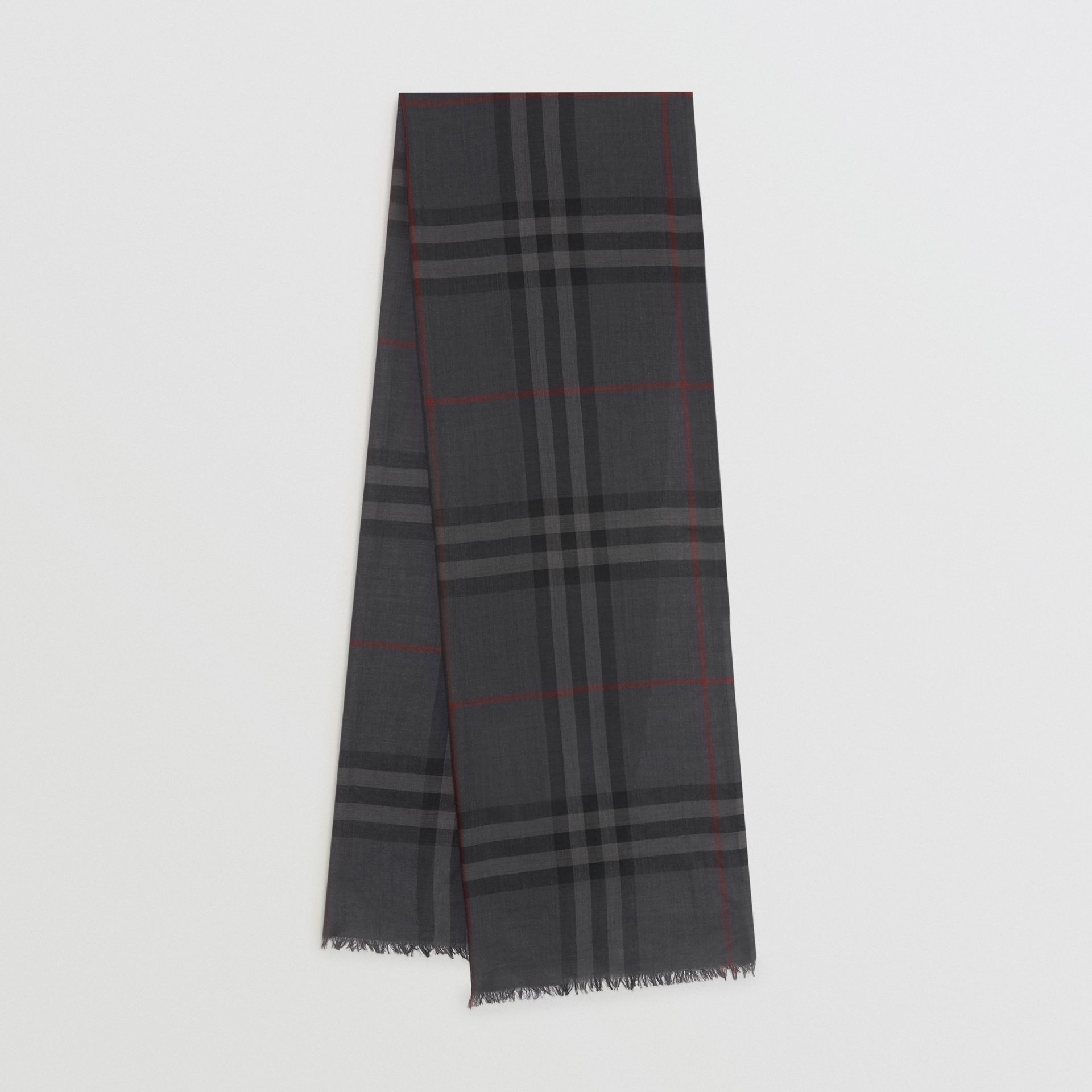 Lightweight Check Wool and Silk Scarf in Charcoal | Burberry Australia - gallery image 0
