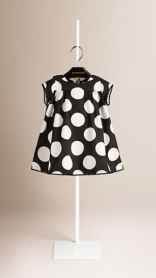 Pom-pom Detail Dot Print Cotton Dress