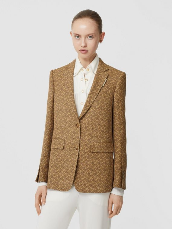 Monogram Print Silk Tailored Jacket in Tawny