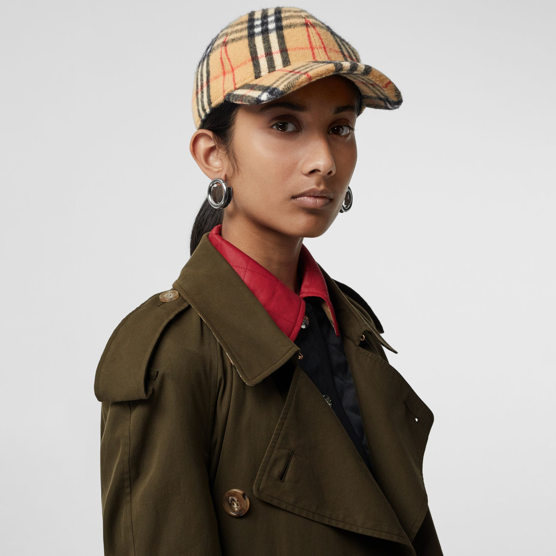 Vintage Check Wool Baseball Cap in Antique Yellow | Burberry United Kingdom - gallery image 2