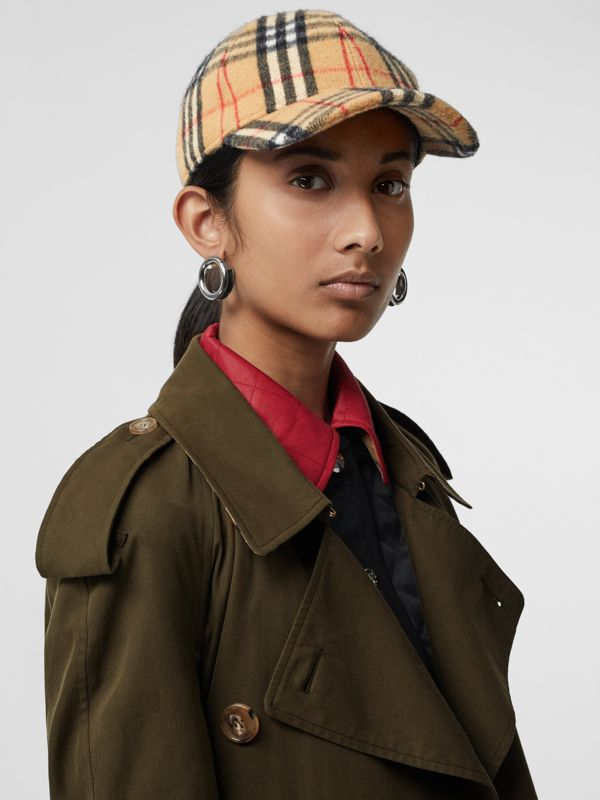 Vintage Check Wool Baseball Cap in Antique Yellow | Burberry - cell image 2