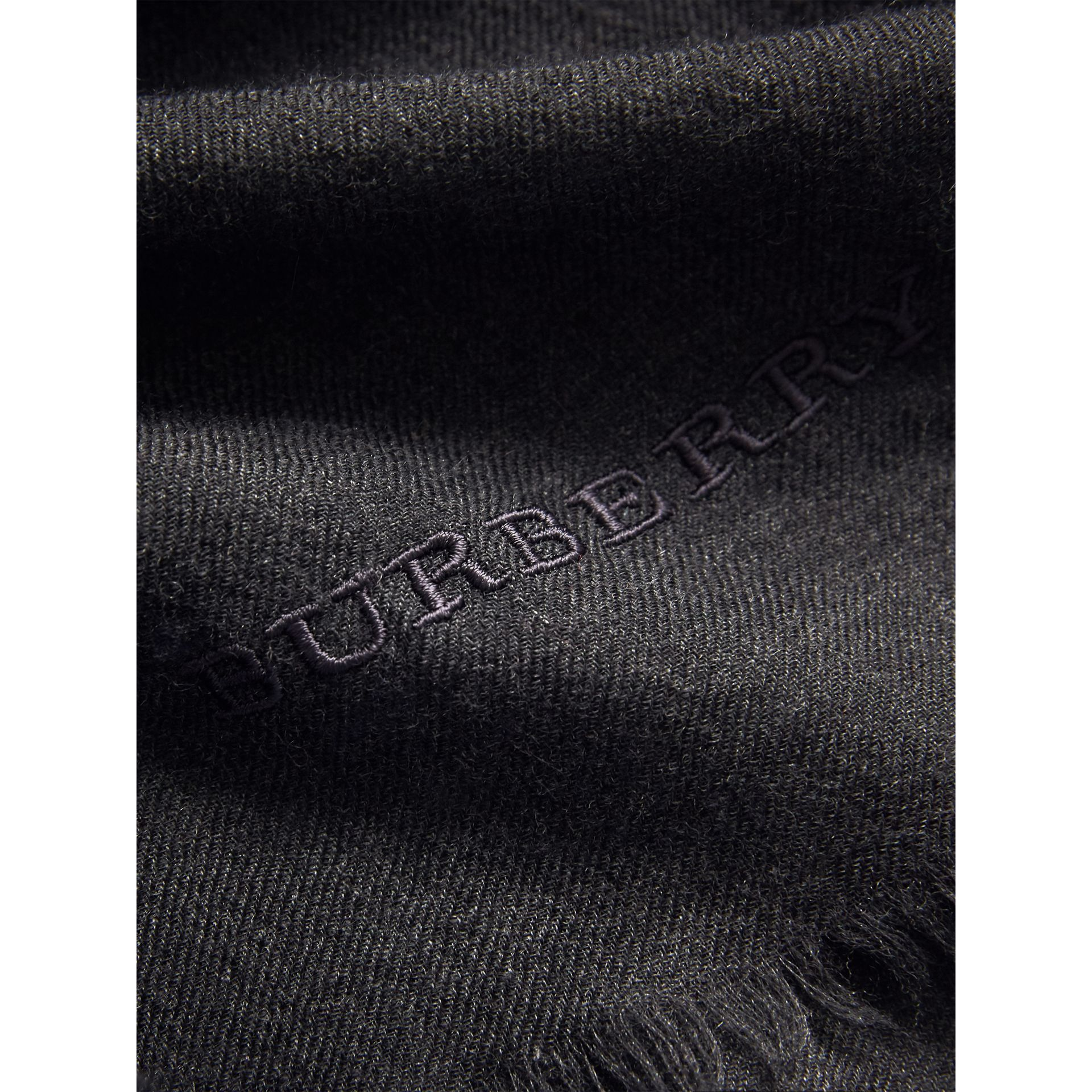 The Lightweight Cashmere Scarf in Charcoal | Burberry United States - gallery image 4