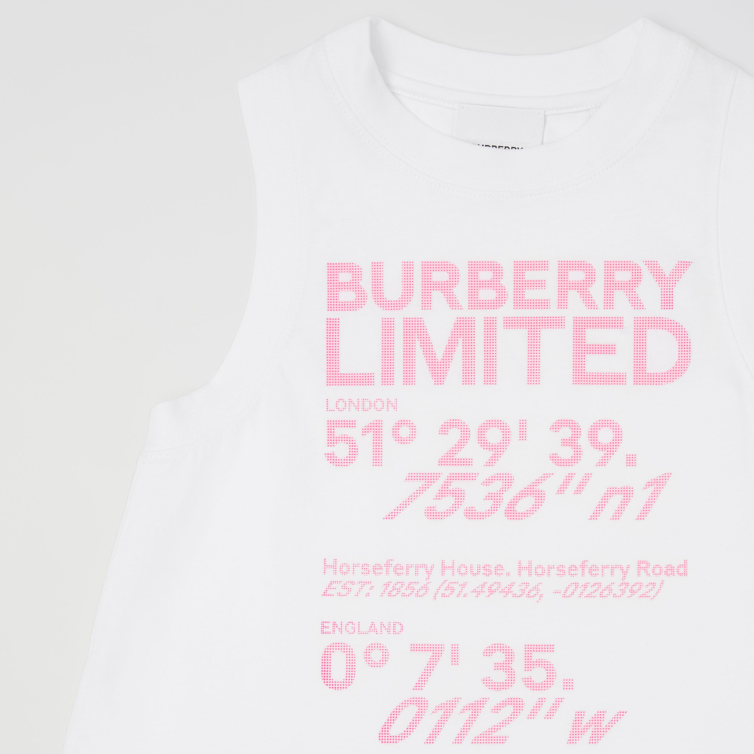 Coordinates Print Cotton Sleeveless Top in White | Burberry Canada - 4