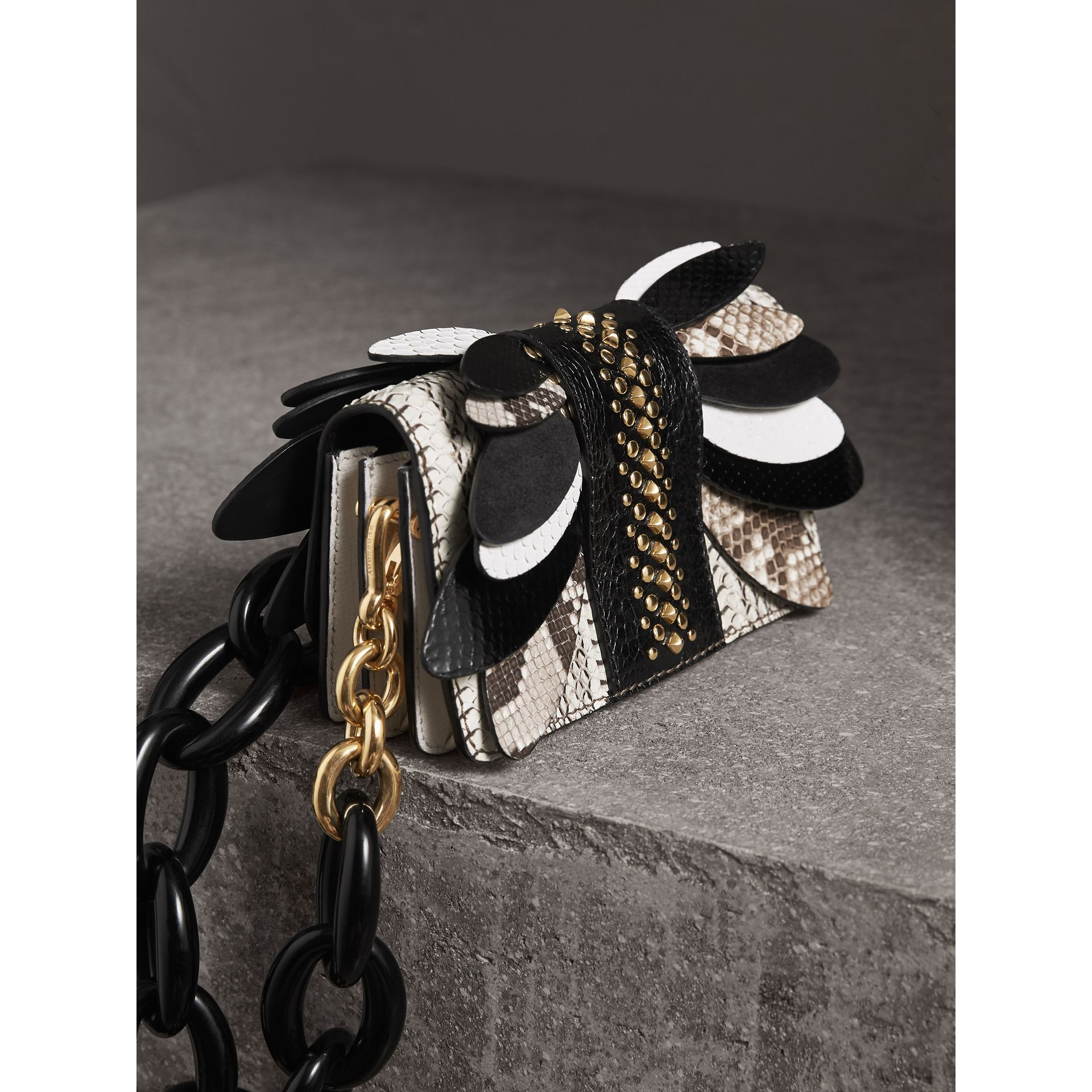 The Small Buckle Bag in Leather and Snakeskin Appliqué in Black/white - Women | Burberry - gallery image 5