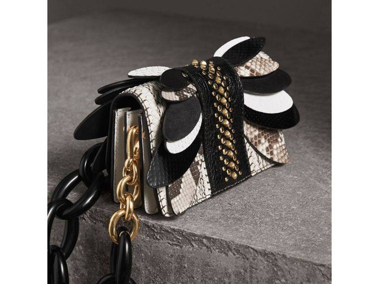 The Small Buckle Bag in Leather and Snakeskin Appliqué in Black/white - Women | Burberry - cell image 4