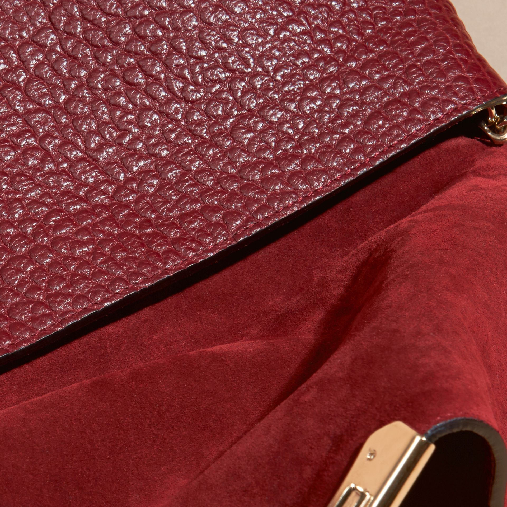 Deep red Medium Signature Grain Leather Clutch Bag Deep Red - gallery image 6