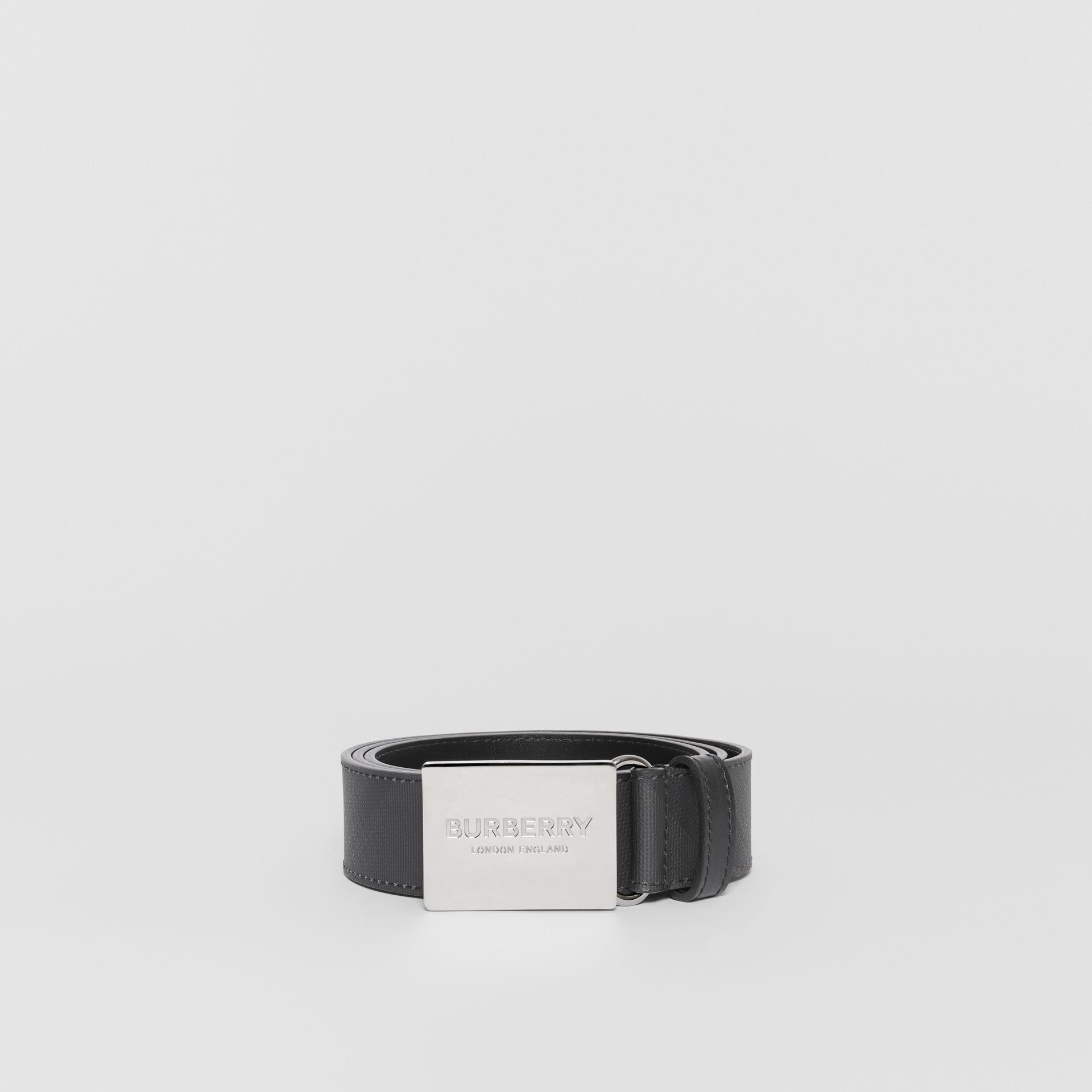 Plaque Buckle London Check and Leather Belt in Dark Charcoal/ Black - Men | Burberry Canada - gallery image 3