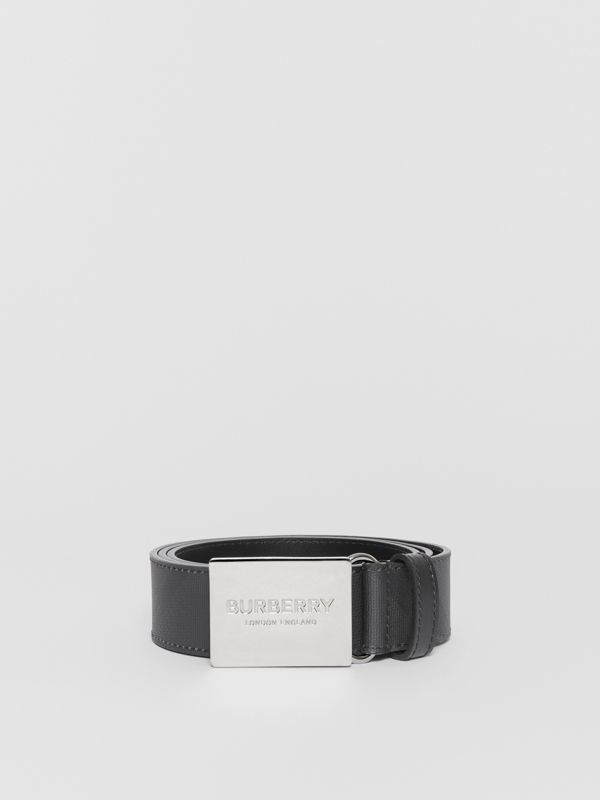 Plaque Buckle London Check and Leather Belt in Dark Charcoal/ Black - Men | Burberry - cell image 3