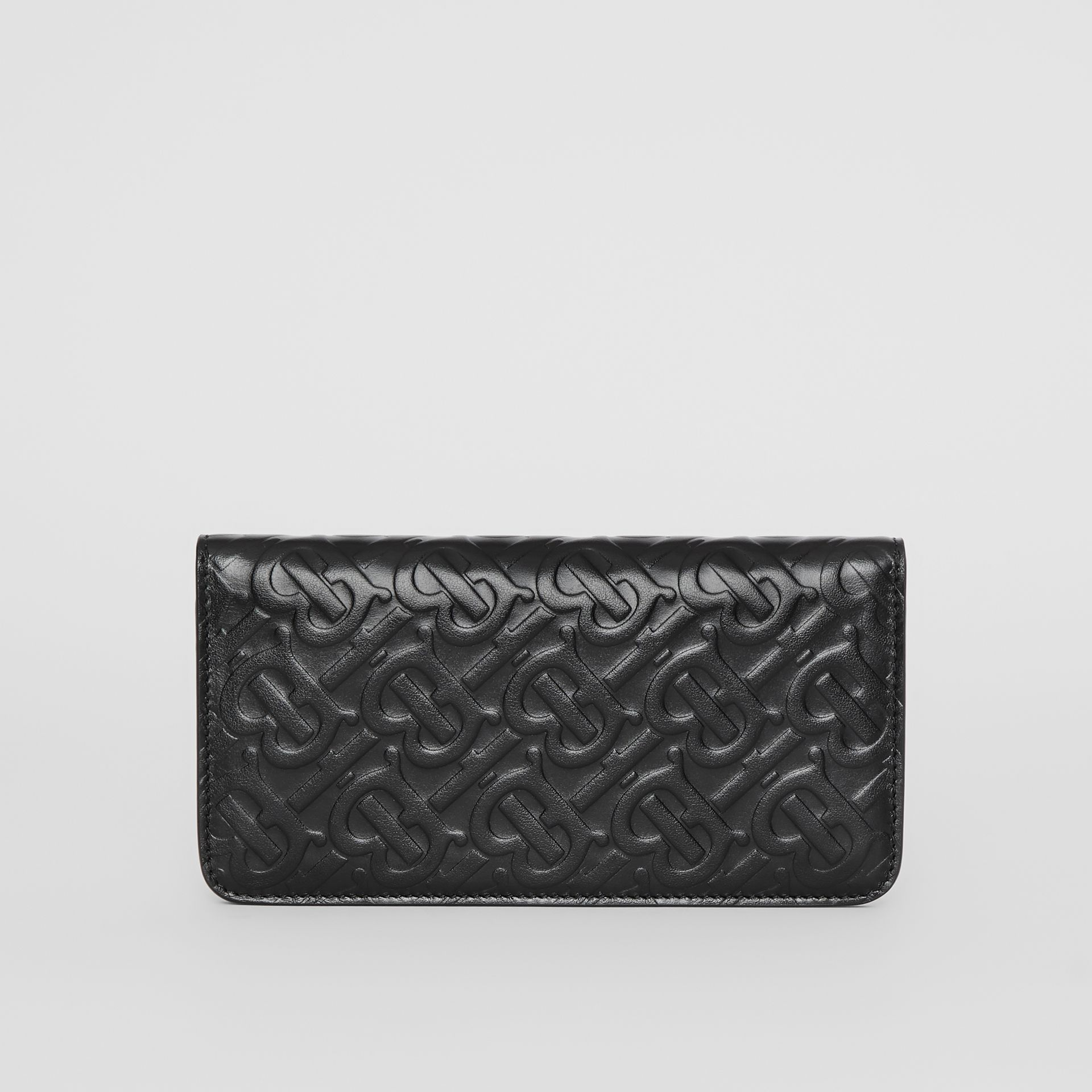 Monogram Leather Phone Wallet in Black - Women | Burberry - gallery image 4
