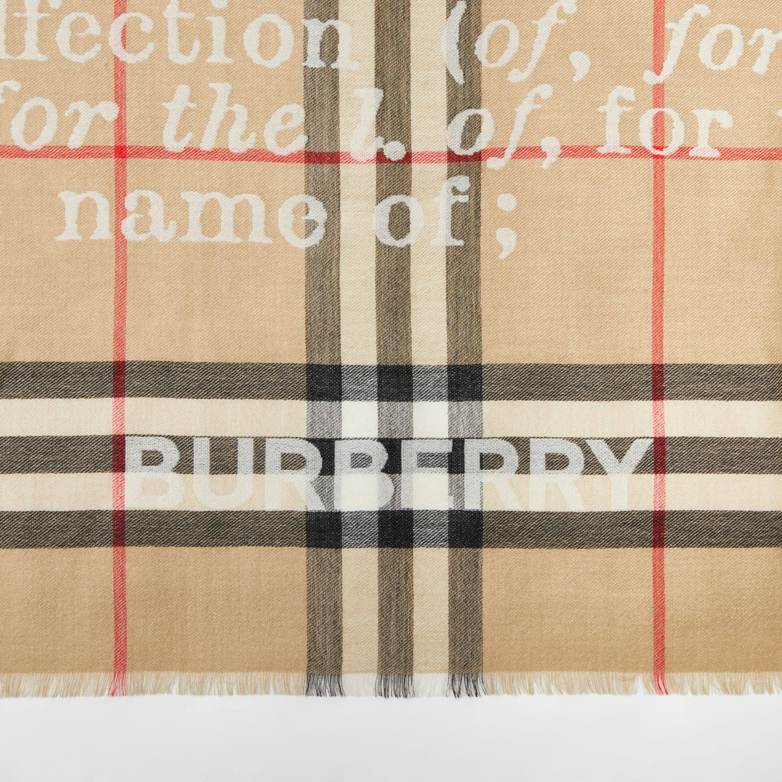 Love and Check Cashmere Jacquard Scarf in Archive Beige | Burberry - 2