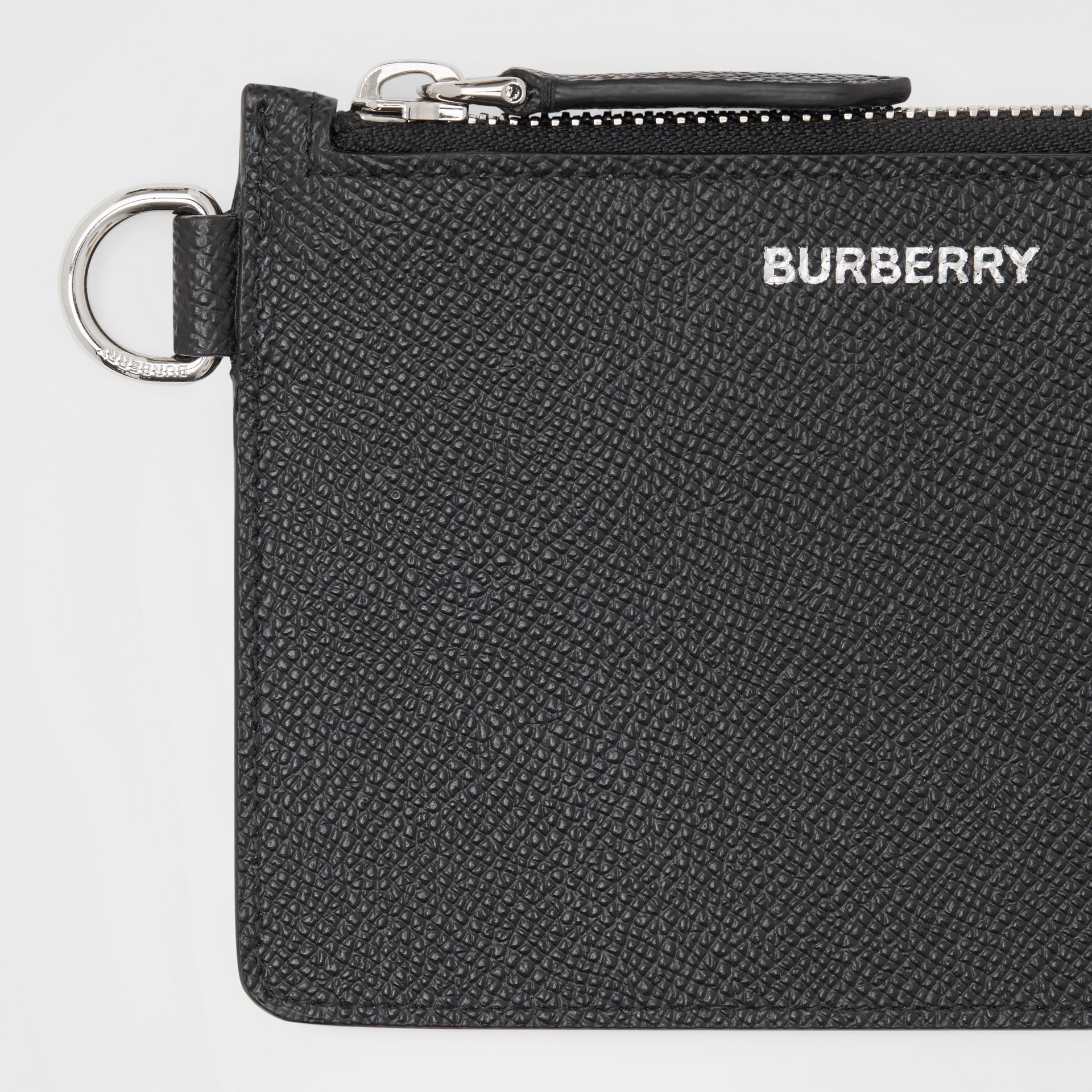 Grainy Leather Zip Coin Case in Black - Men | Burberry United Kingdom - gallery image 1