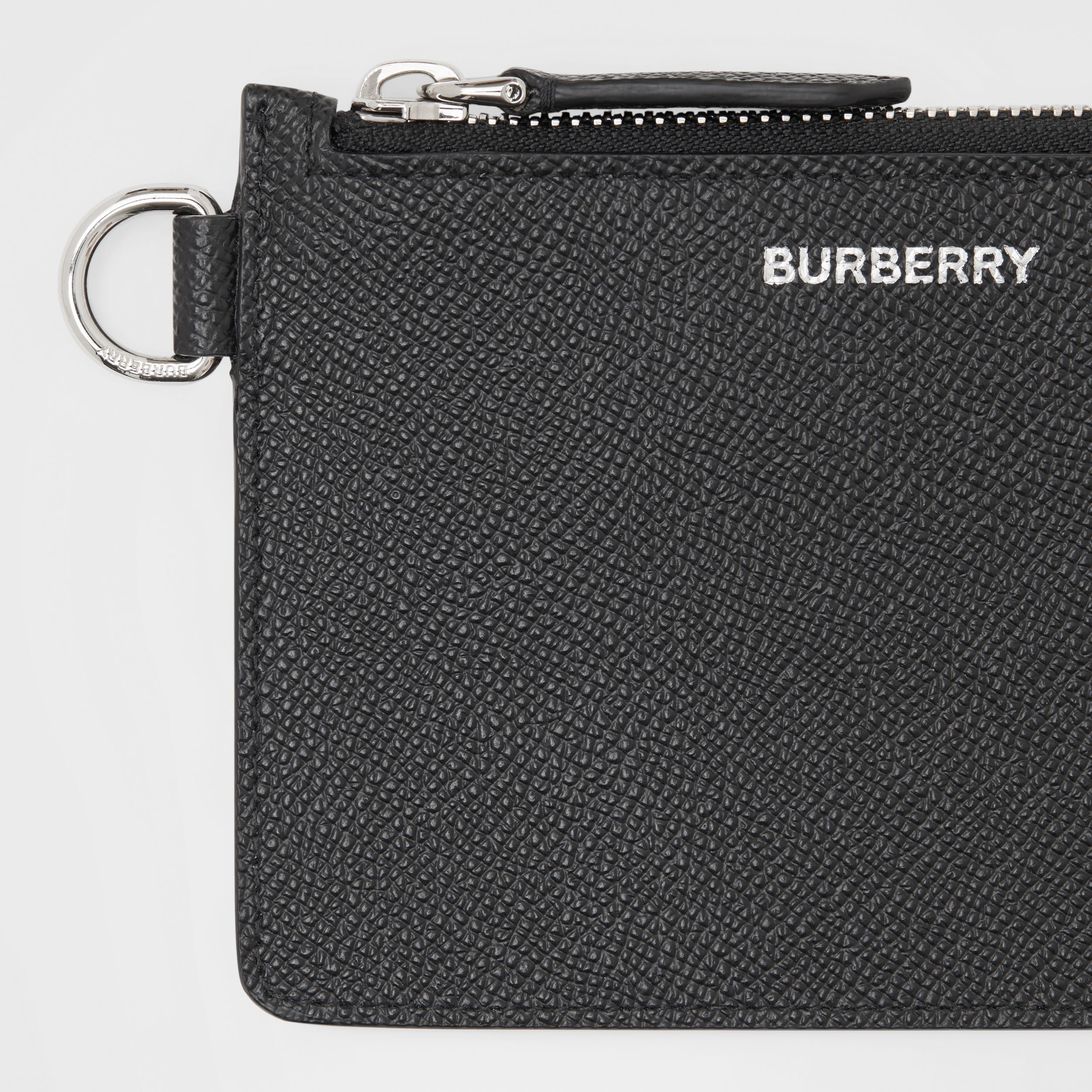 Grainy Leather Zip Coin Case in Black - Men | Burberry - 2