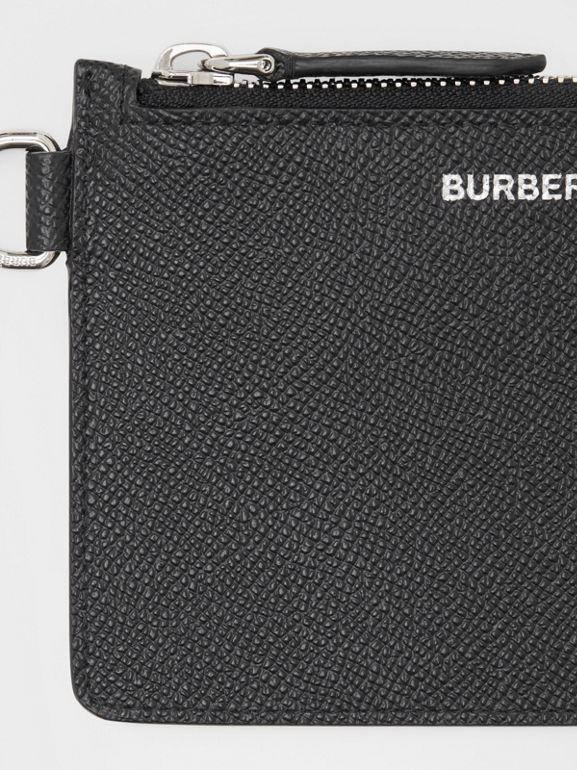 Grainy Leather Zip Coin Case in Black - Men | Burberry United Kingdom - cell image 1