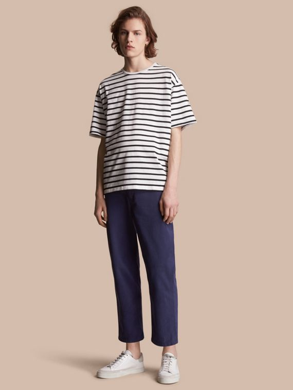 Striped Cotton Oversize T-shirt in White/black