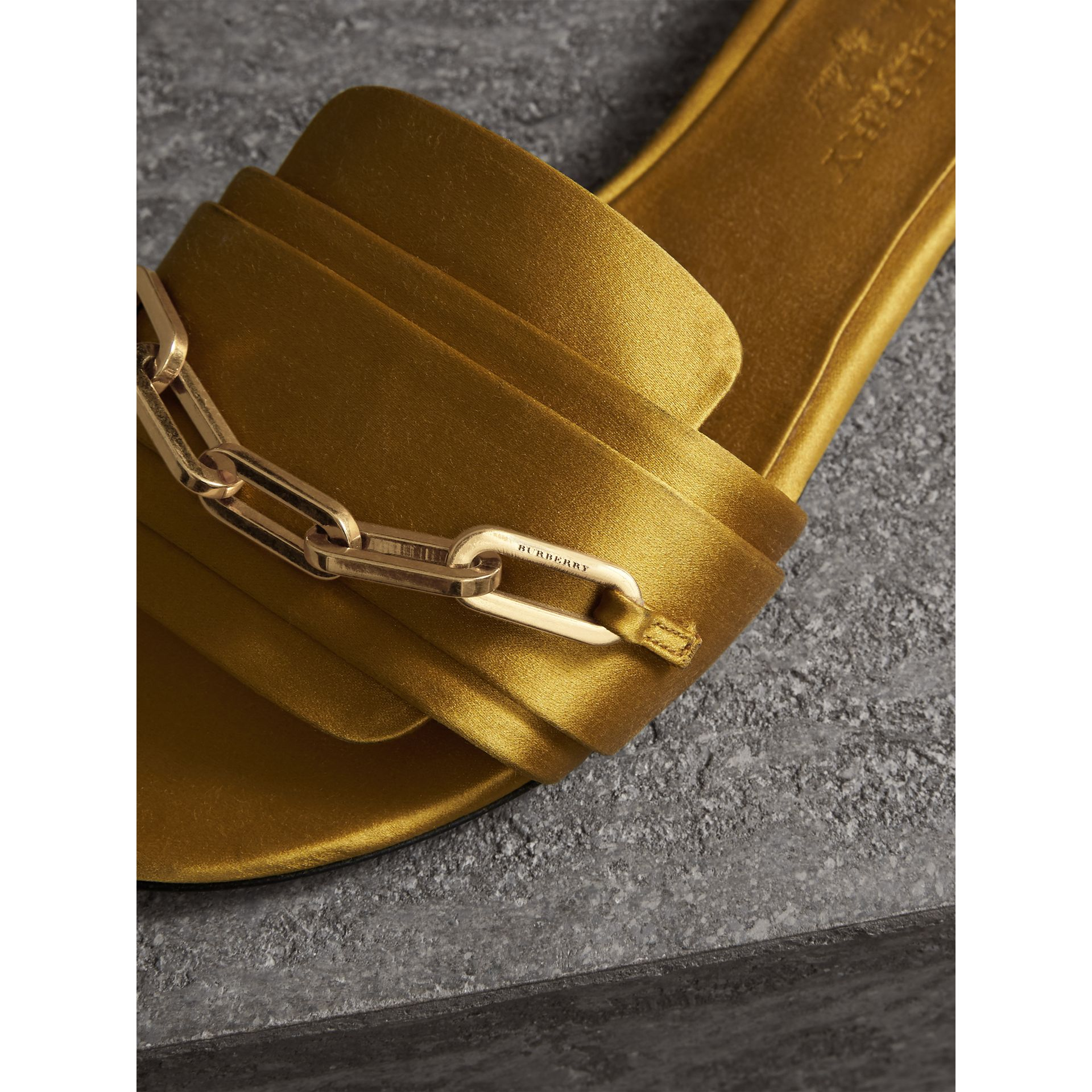 Link Detail Satin and Leather Slides in Antique Yellow - Women | Burberry Australia - gallery image 1