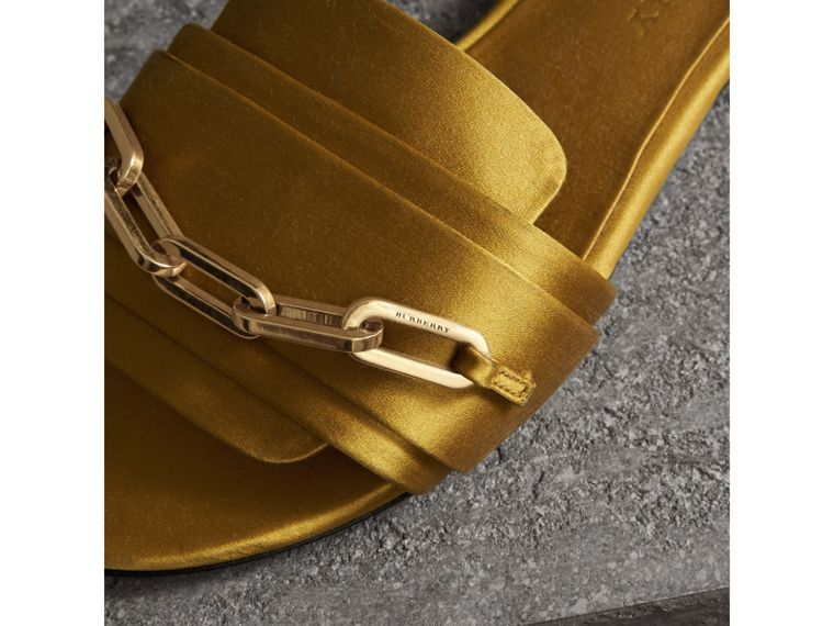 Link Detail Satin and Leather Slides in Antique Yellow - Women | Burberry Singapore - cell image 1