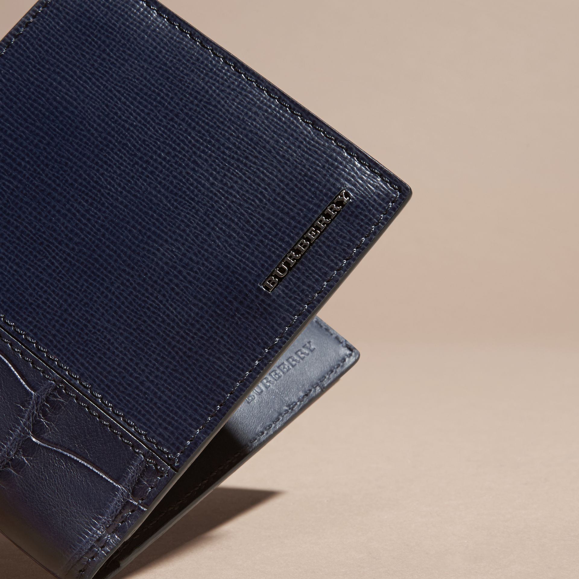 London Leather and Alligator Folding Wallet Dark Navy - gallery image 2