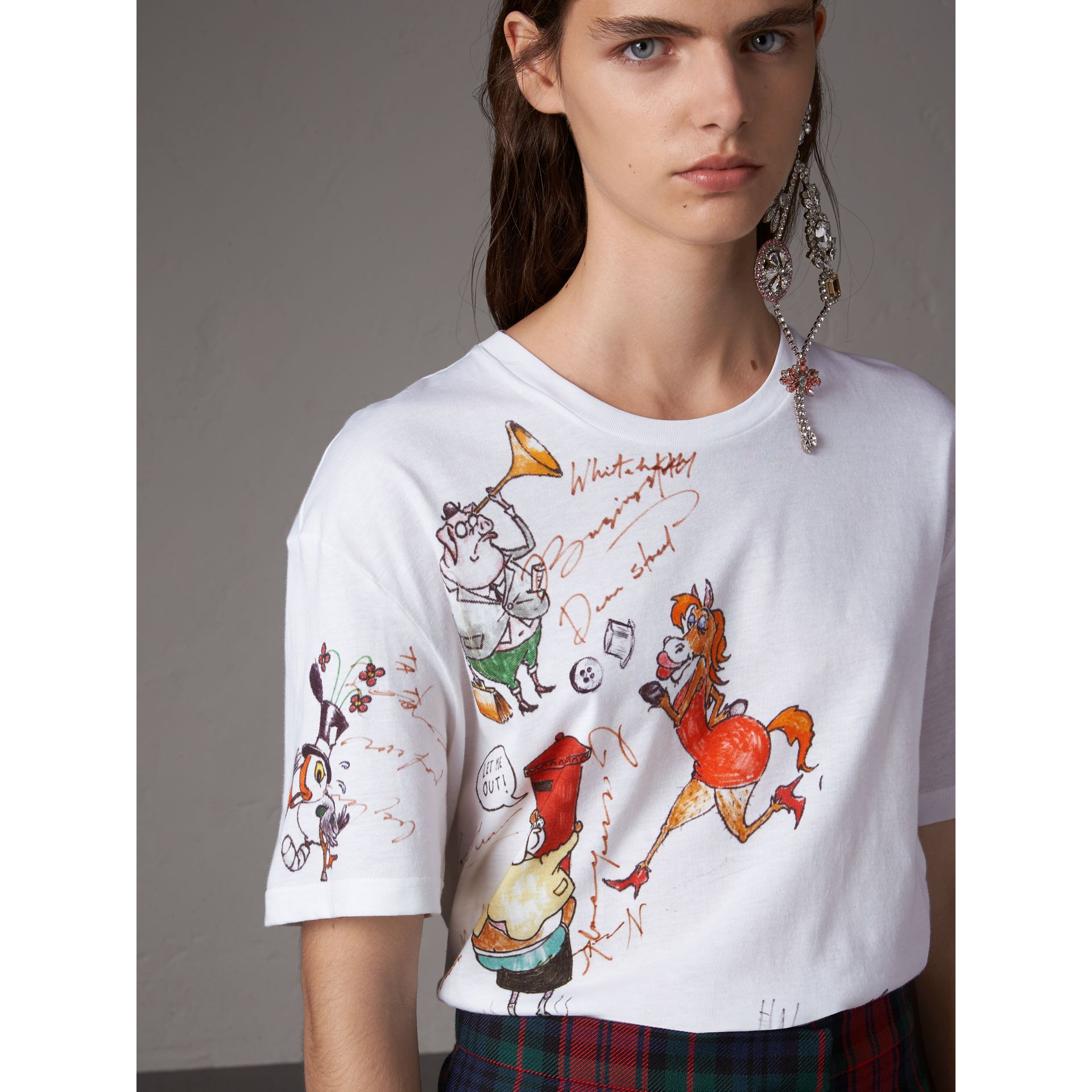 Sketch Print Cotton T-shirt in White - Women | Burberry - gallery image 1